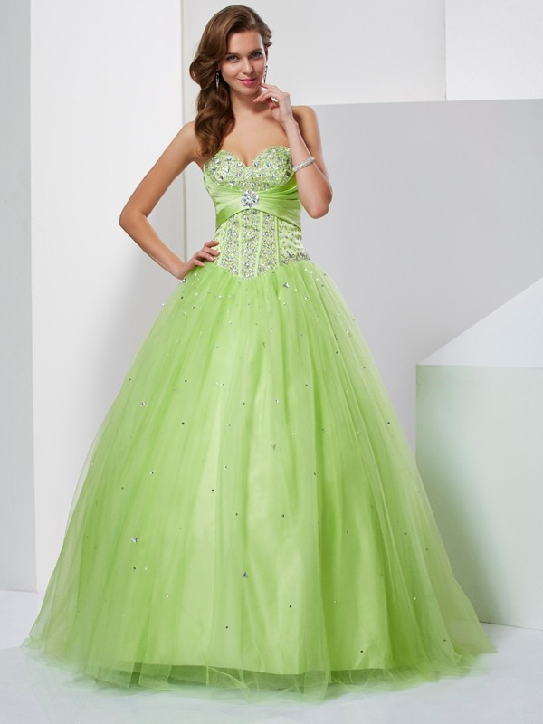 Dashing Darling Ball Gown Sweetheart Beading Long Tulle Quinceanera Dresses