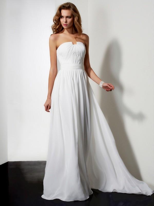 Intuitive Impact Princess Style Strapless Pleats Ruffles Long Chiffon Dresses