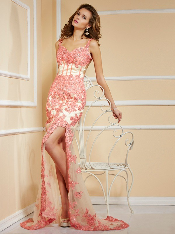 Comfortably Chic Sheath Style Straps Applique Long Net Dresses