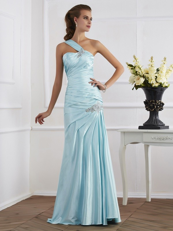 Efflorescent Dreams Mermaid Style One-Shoulder Ruched Long Elastic Woven Satin Dresses