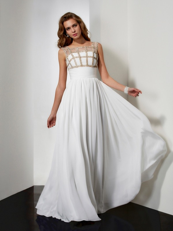 Sweet Sensation Princess Style Straps Beading Chiffon Long Dresses