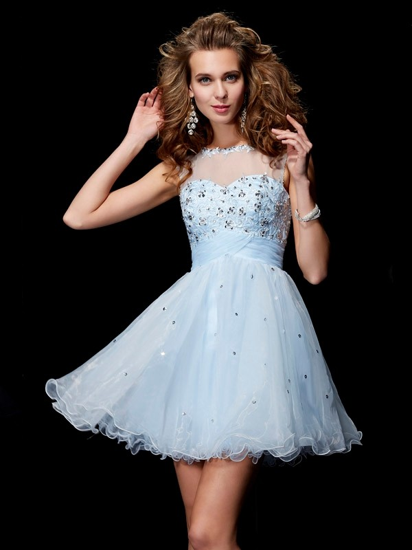 Fabulous Fit Princess Style Scoop Beading Short Elastic Woven Satin Homecoming Dresses