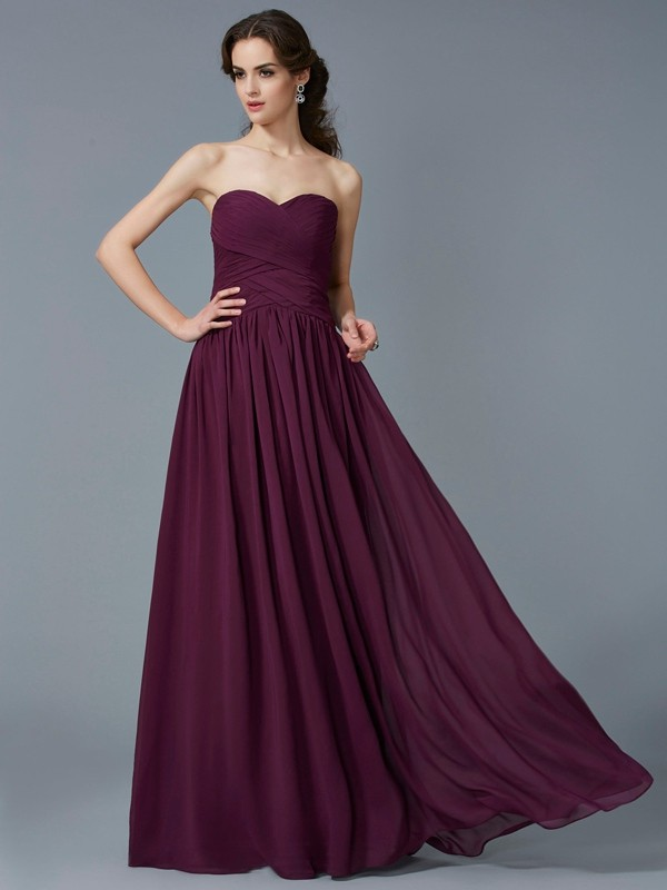 Too Much Fun Princess Style Sweetheart Pleats Chiffon Long Dresses