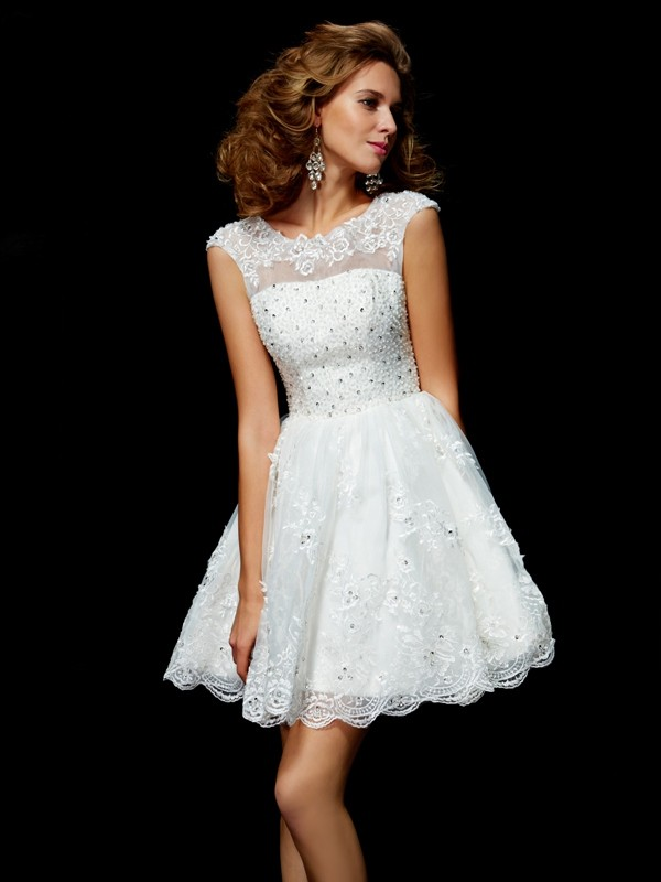 Open to Adoration Princess Style V-neck Applique Short Organza Homecoming Dresses