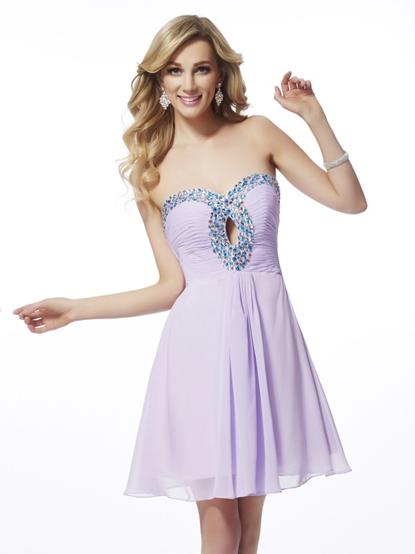 Memorable Magic Princess Style Sweetheart Beading Chiffon Short Homecoming Dresses