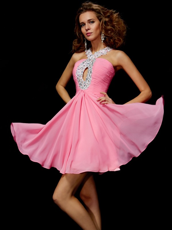 Yours Truly Princess Style V-neck Beading Sequin Short Chiffon Homecoming Dresses