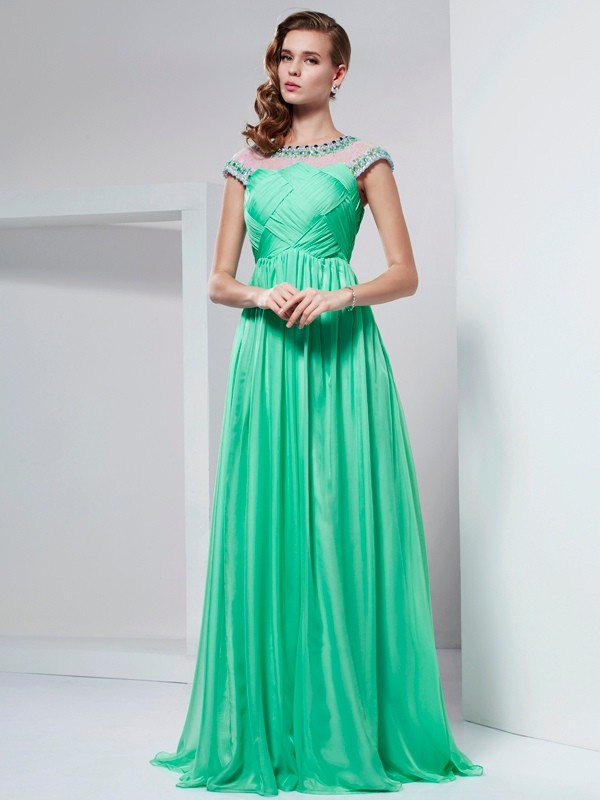 Romantic Vibes Princess Style High Neck Ruffles Long Chiffon Dresses