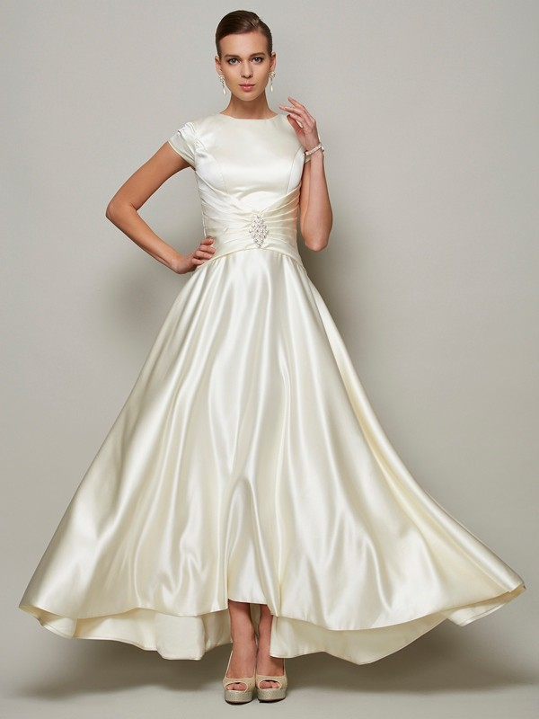 Easily Adored Princess Style Scoop Beading Long Satin Mother of the Bride Dresses