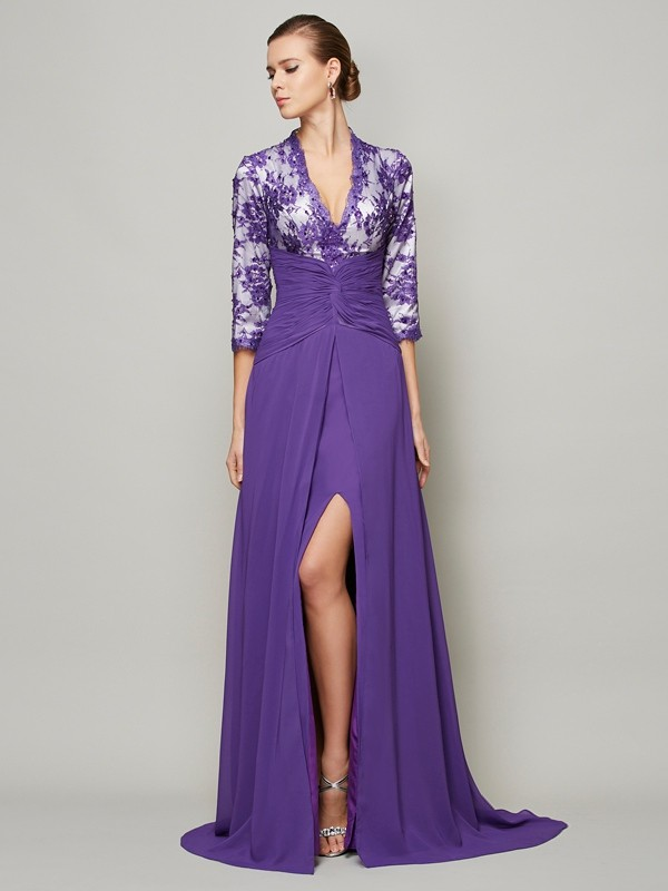 Embracing Grace Princess Style V-neck Beading Long Chiffon Dresses