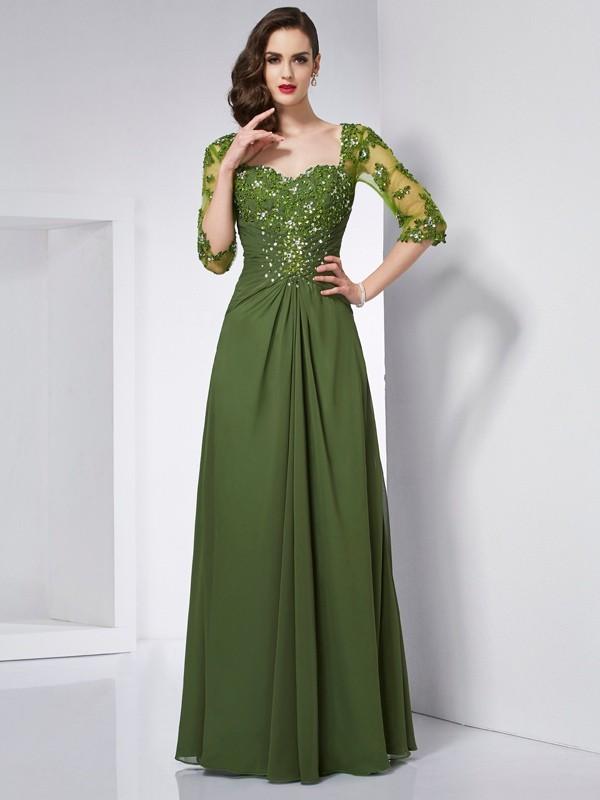 Intuitive Impact Princess Style Sweetheart Beading Long Chiffon Dresses