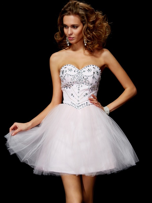 Time to Shine Princess Style Sweetheart Beading Short Organza Homecoming Dresses