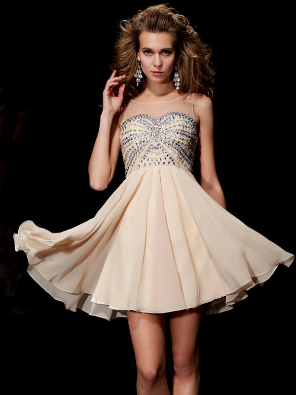 Treasured Reveries Princess Style Scoop Beading Short Chiffon Homecoming Dresses