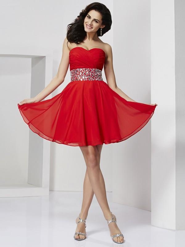 Limitless Looks Princess Style Sweetheart Rhinestone Short Chiffon Homecoming Dresses