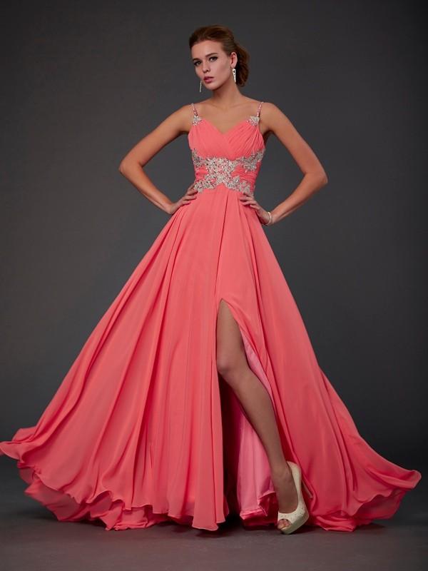 Efflorescent Dreams Princess Style Scoop Lace Sweep/Brush Train Chiffon Dresses