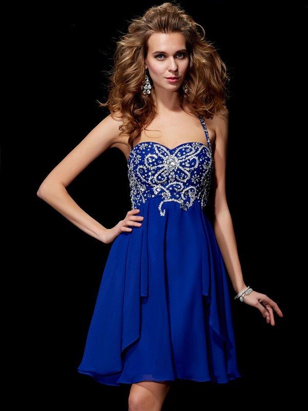 Sweet Sensation Princess Style Halter Beading Short Chiffon Homecoming Dresses