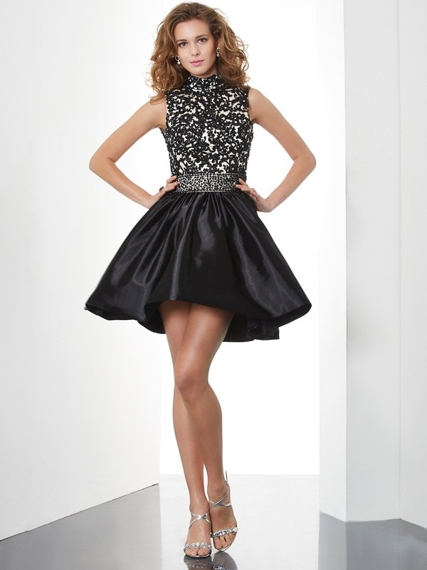 Styled to Smile Princess Style High Neck Beading Short Taffeta Homecoming Dresses