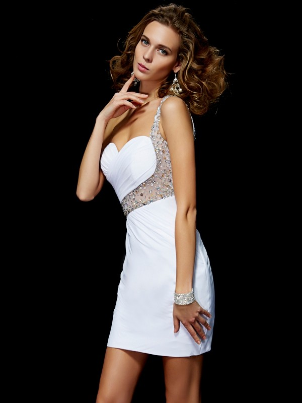 Pretty Looks Princess Style One-Shoulder Sequin Short Chiffon Homecoming Dresses