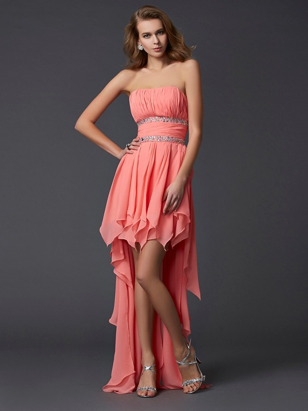 Confident Option Empire Strapless Ruffles High Low Chiffon Homecoming Dresses
