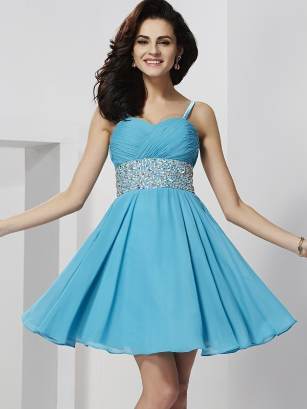 Cheerful Spirit Princess Style Spaghetti Straps Rhinestone Short Chiffon Homecoming Dresses