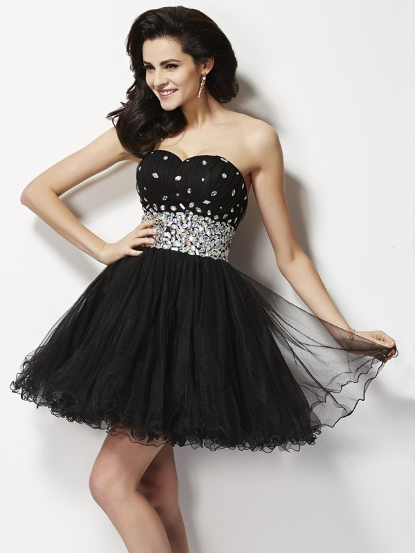 Too Much Fun Princess Style Sweetheart Beading Sequin Short Elastic Woven Satin Homecoming Dresses