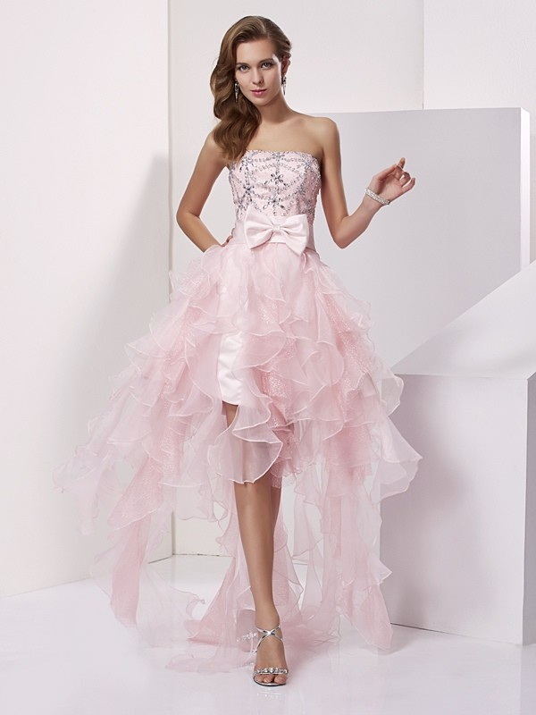 Open to Adoration Princess Style Strapless Beading High Low Organza Homecoming Dresses