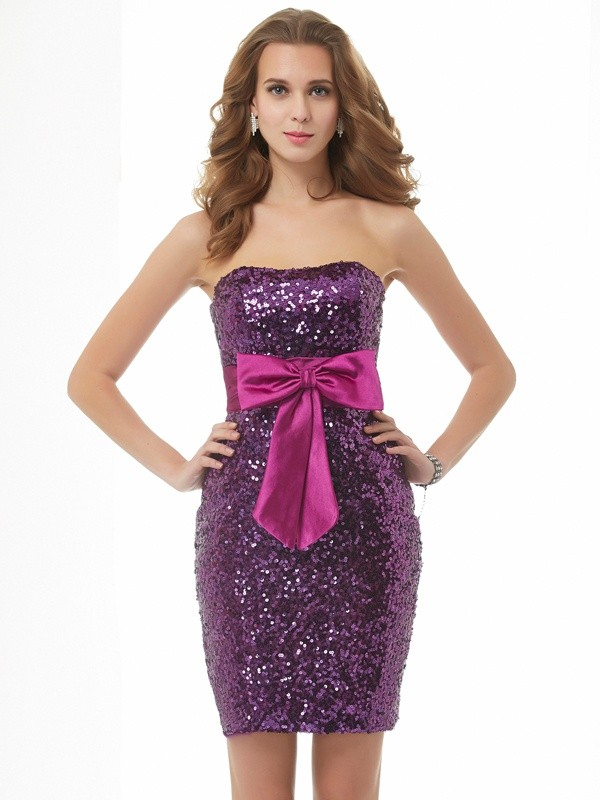 Dancing Queen Princess Style Strapless Bowknot Short Organza Homecoming Dresses