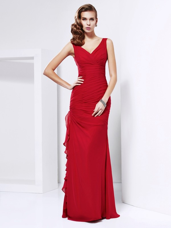 Beautiful You Sheath Style V-neck Ruched Long Chiffon Dresses