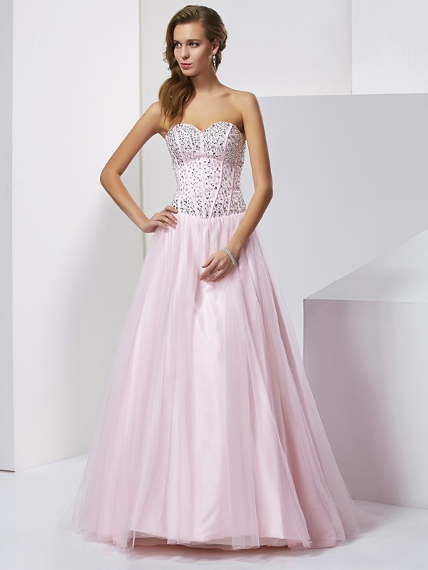 Glitz the Spot Ball Gown Sweetheart Beading Long Satin Quinceanera Dresses
