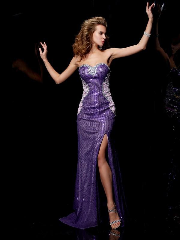 Modern Mood Sheath Style Sweetheart Beading Long Elastic Woven Satin Dresses