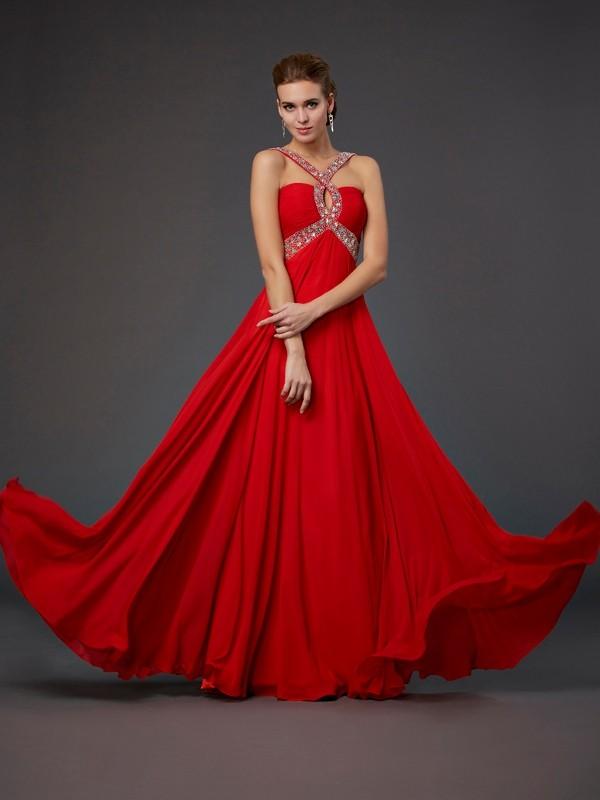 Comfortably Chic Sheath Style Halter Beading Sequin Long Chiffon Dresses