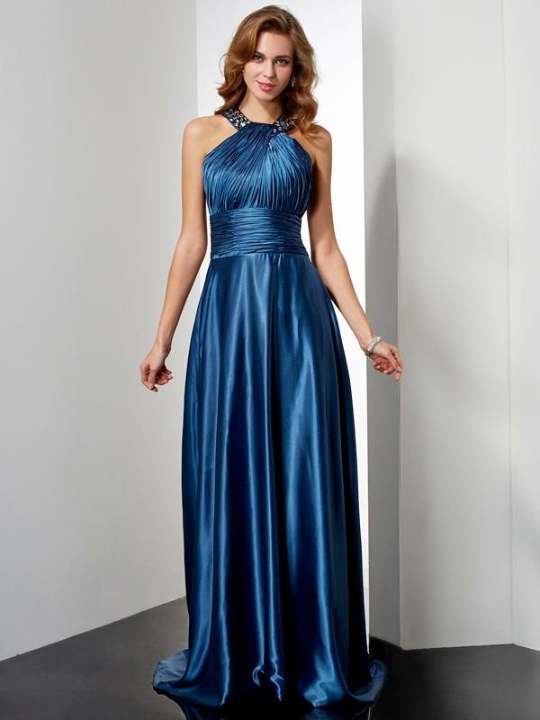 Sweet Sensation Princess Style Halter Ruffles Long Elastic Woven Satin Dresses