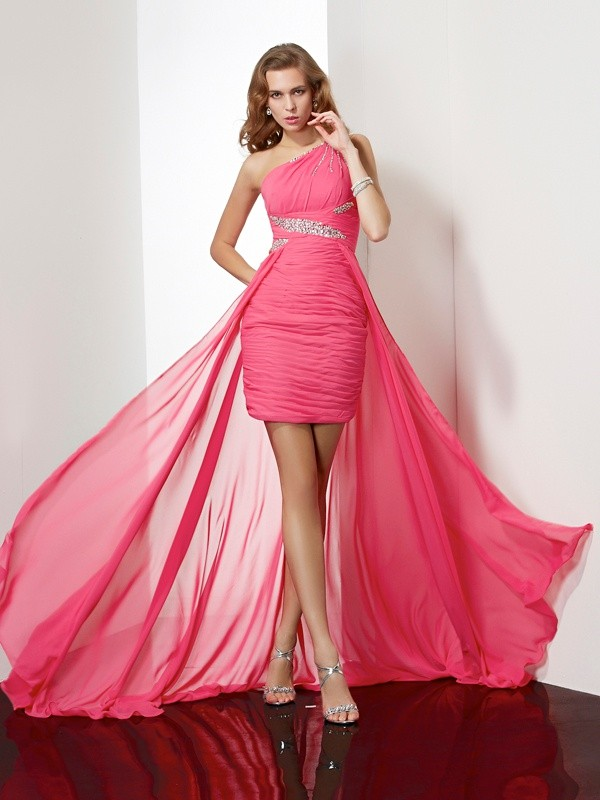 First Impressions Sheath Style One-Shoulder Beading Short Chiffon Homecoming Dresses