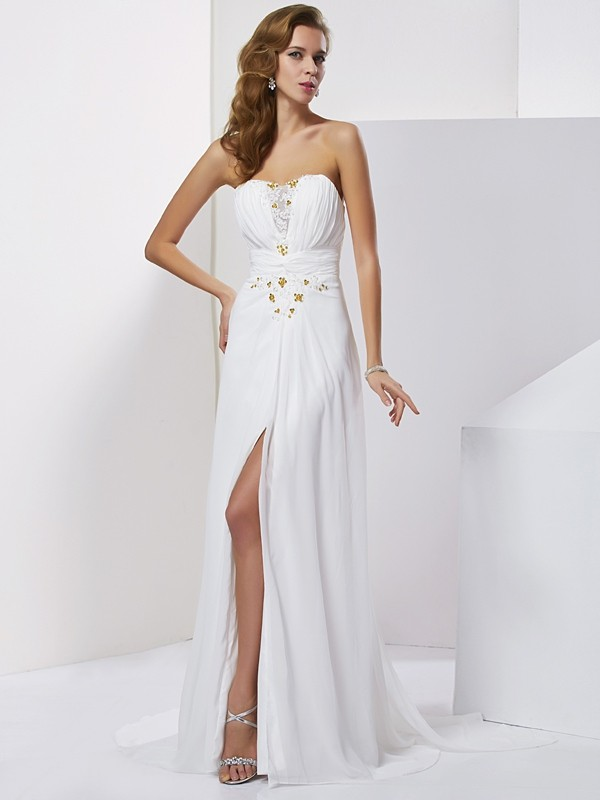 Fabulous Fit Princess Style Sweetheart Applique Beading Long Chiffon Dresses