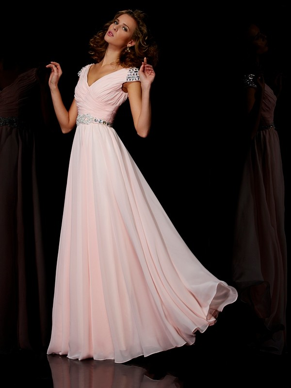 Visual Moment Princess Style V-neck Ruffles Long Chiffon Dresses