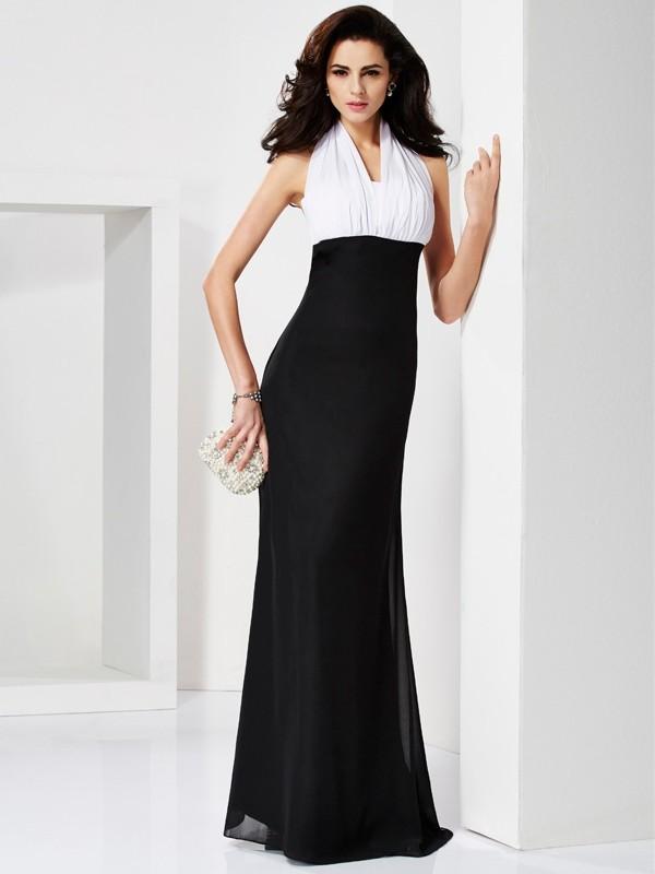 Cheerful Spirit Mermaid Style Halter Pleats Long Chiffon Dresses