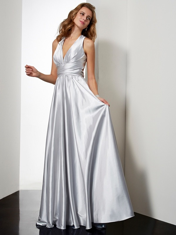 Open to Adoration Sheath Style Halter Pleats Long Elastic Woven Satin Dresses