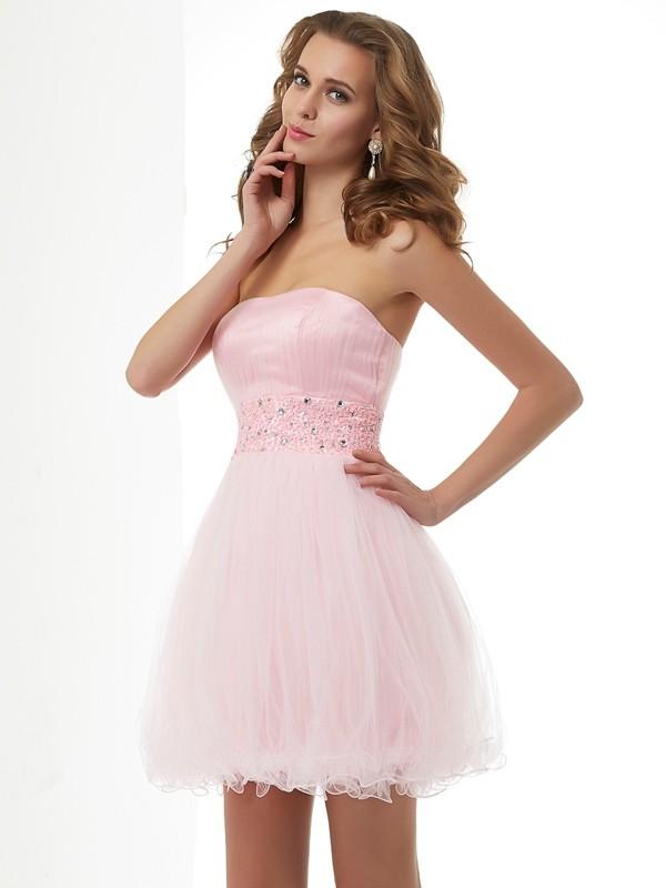 Stylish Refresh Sheath Style Sweetheart Beading Short Elastic Woven Satin Homecoming Dresses