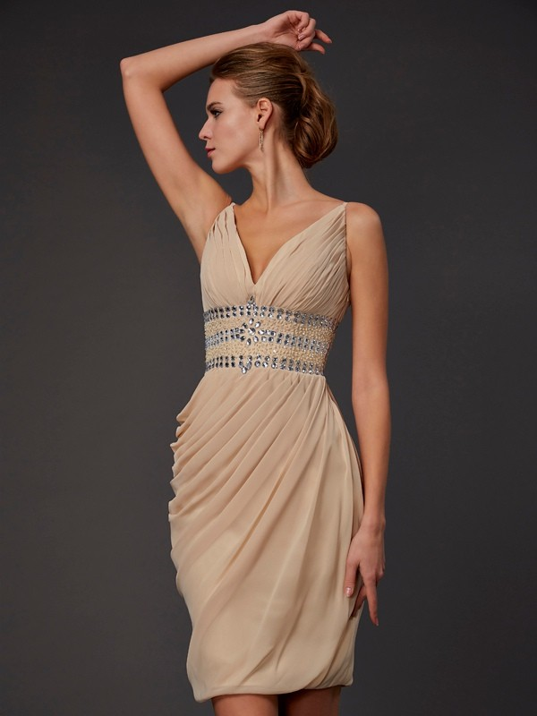 Yours Truly Sheath Style V-neck Beading Short Chiffon Homecoming Dresses