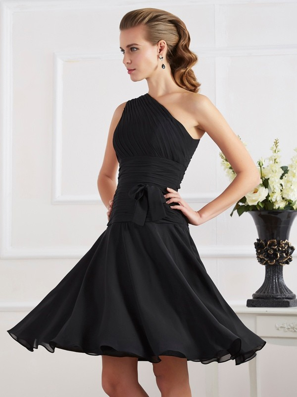 Touch of Texture Princess Style One-Shoulder Pleats Short Chiffon Homecoming Dresses