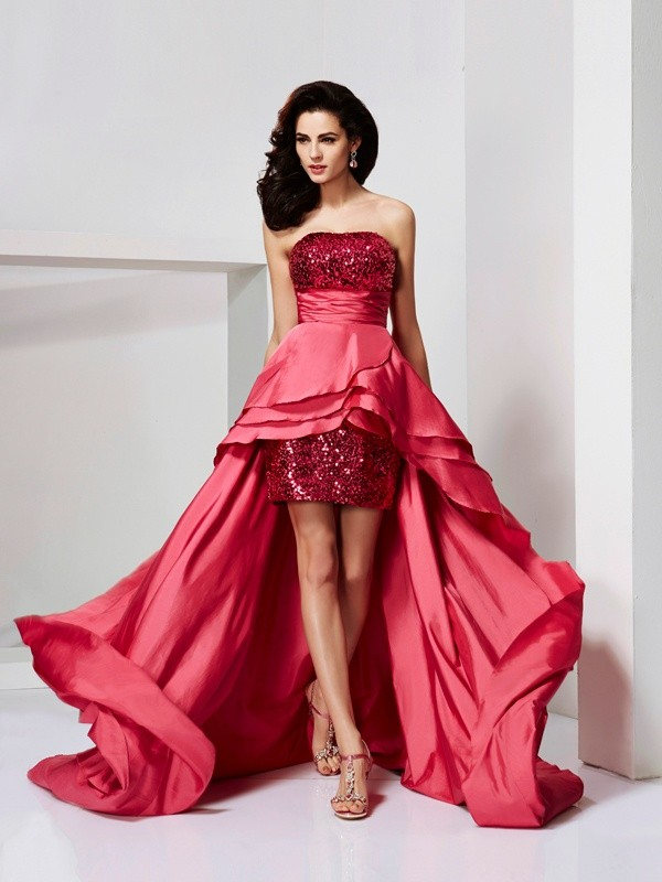 Creative Courage Princess Style Strapless Lace High Low Taffeta Dresses
