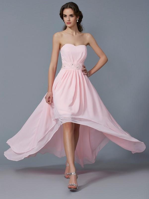 Festive Self Princess Style Sweetheart Beading High Low Chiffon Homecoming Dresses