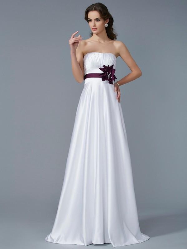 Confident Option Princess Style Strapless Hand-Made Flower Long Satin Dresses