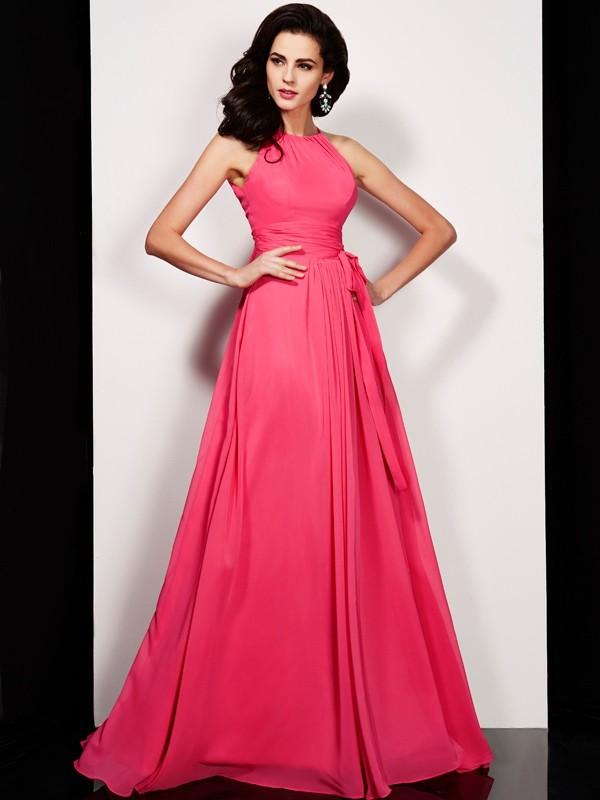 Fabulous Fit Princess Style High Neck Sash/Ribbon/Belt Long Chiffon Dresses