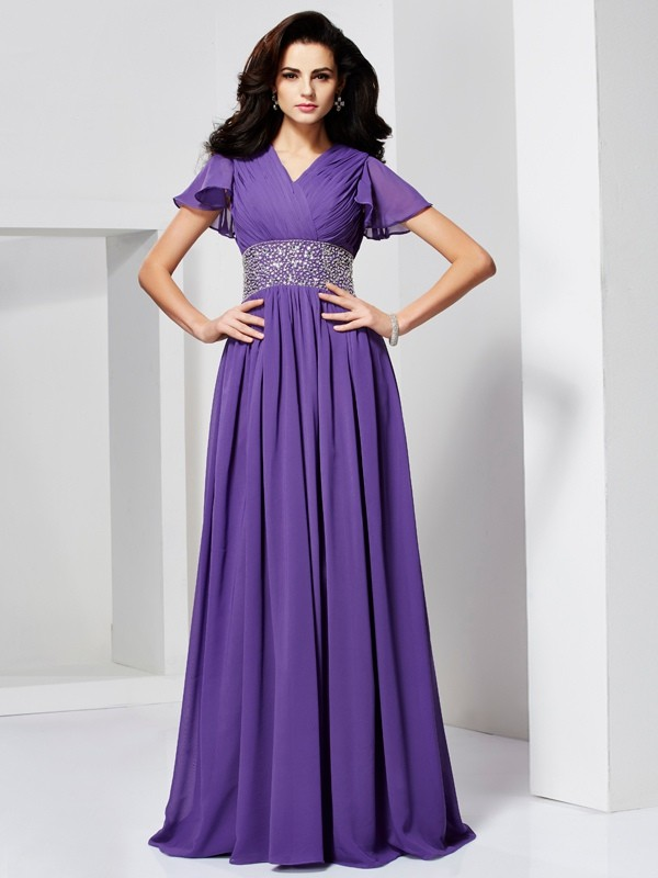 Lively Identity Princess Style V-neck Beading Long Chiffon Dresses