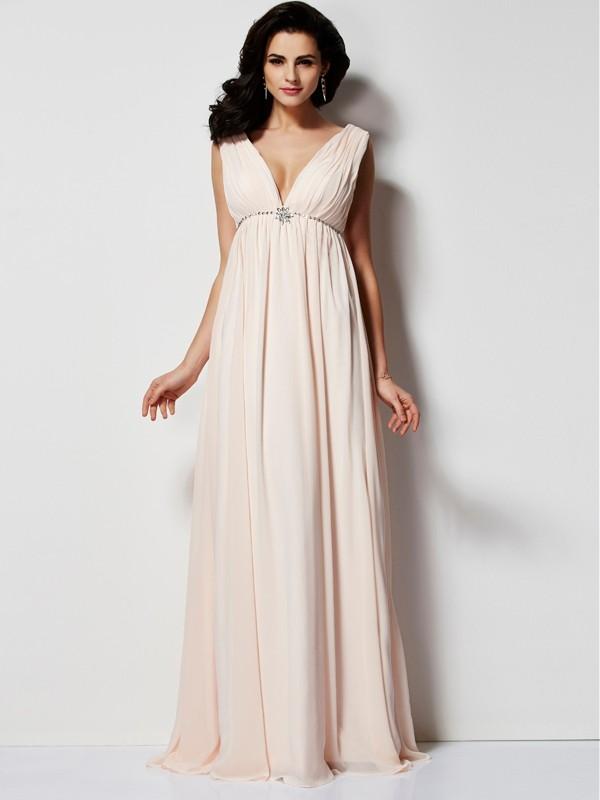 Vibrant Stylist Princess Style V-neck Pleats Long Chiffon Dresses