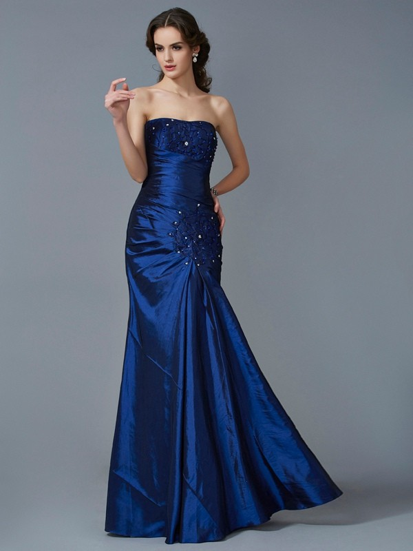Fresh Picks Mermaid Style Strapless Applique Long Taffeta Dresses