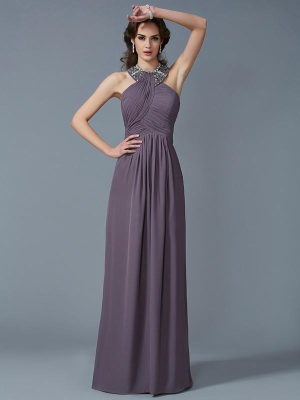 Modern Mood Sheath Style High Neck Beading Long Chiffon Dresses