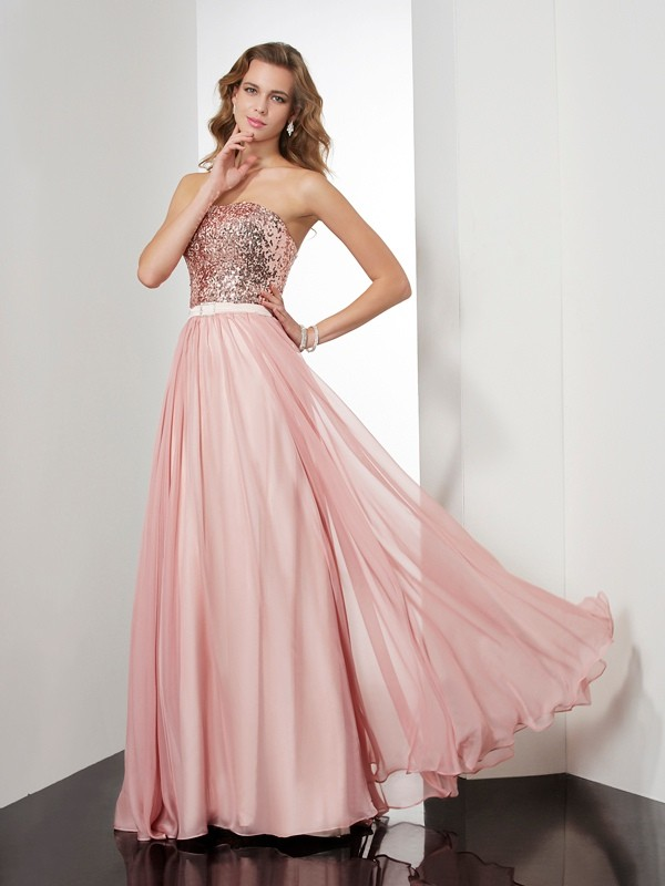 Eye-Catching Charm Princess Style Strapless Paillette Long Chiffon Dresses