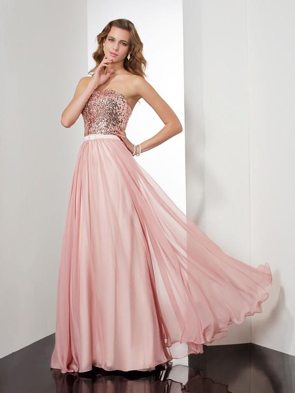 Eye-Catching Charm Princess Style Strapless Paillette Long Chiffon Dresses