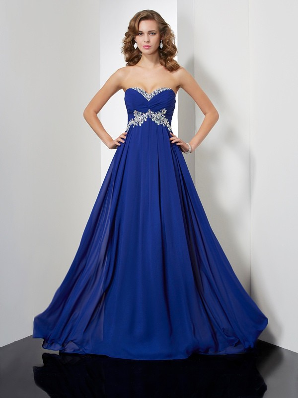 Absolute Lovely Princess Style Sweetheart Beading Long Chiffon Dresses